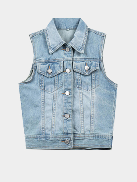 Light Blue Lapel Slim Denim Gilet