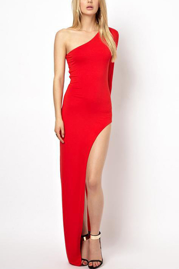 Red Sexy Splited Hem Evening Dress