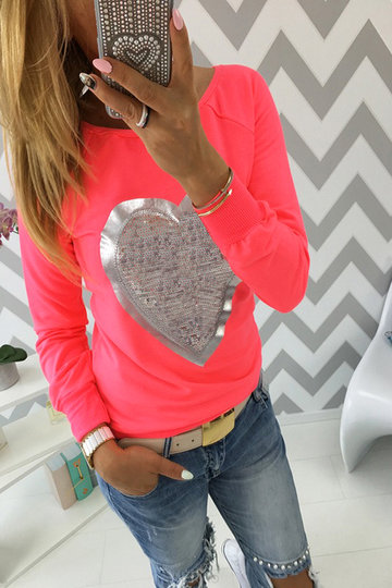 Red Heart-shape Sequin Long Sleeves T-shirt