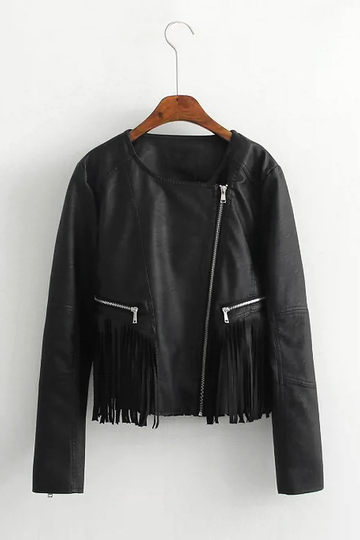 Fringed Zipper Leather-look Jacket
