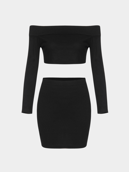 Black Off Shoulder Top & Mini Skirt Co-ord