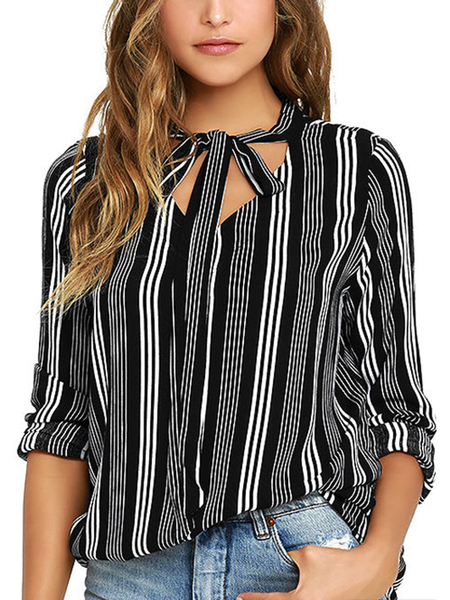 White and Black Stripe Self-tie Front Blouse
