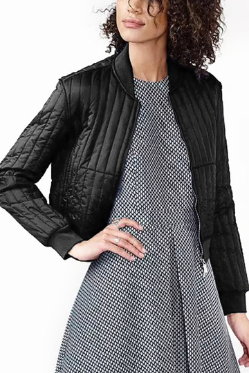 Noir Easy-appariés barre verticale Bomber Jacket