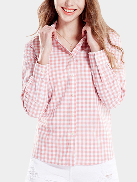 Casual English Collar Buttons Front Grid Pattern Shirt
