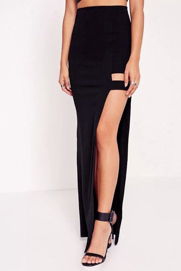 Black Sexy Side Split Maxi Jupe