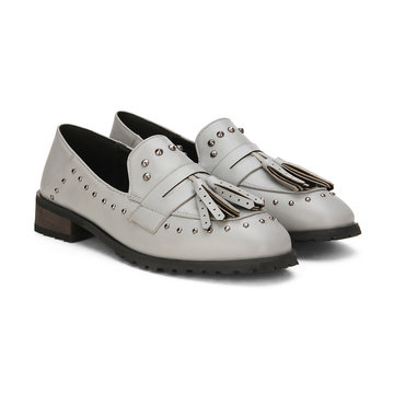 Grey Soft Leather Look Tassel studded Slip-on Loafers