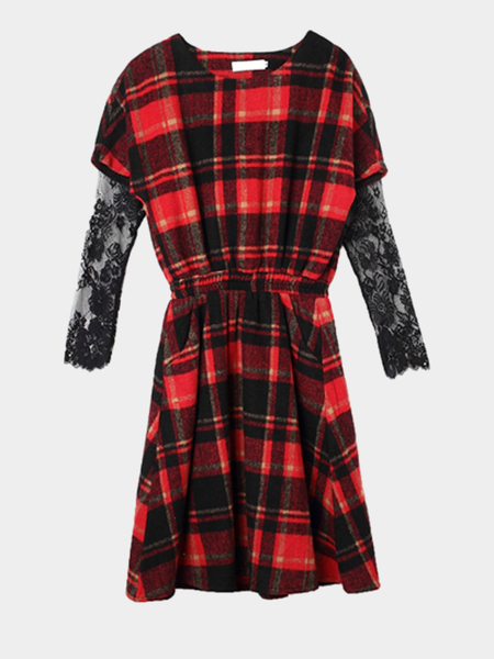 Red Check Lace Sleeve Dress