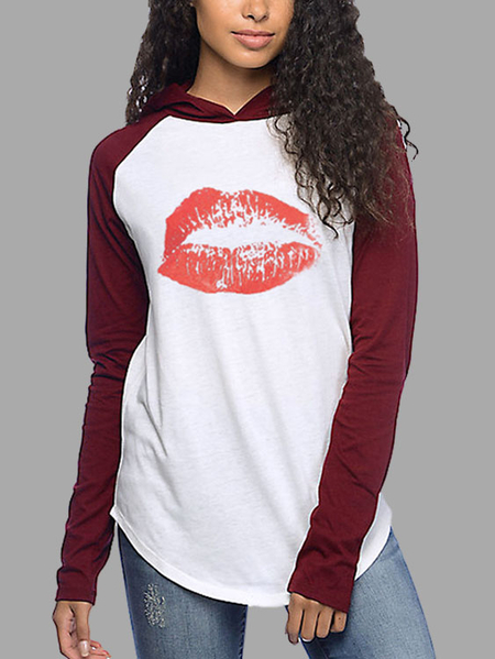 Burgundy Raglan sleeves Red Lipstick Print Pattern Hooded Top