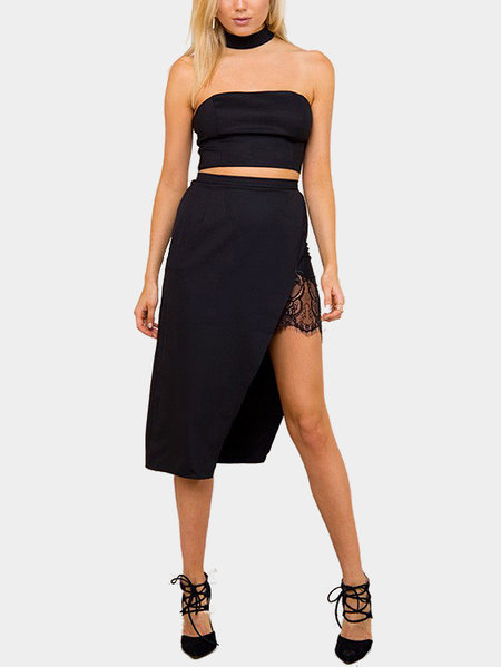 Halter Crop Top & Wrap Front Irregular Skirt Co-ord