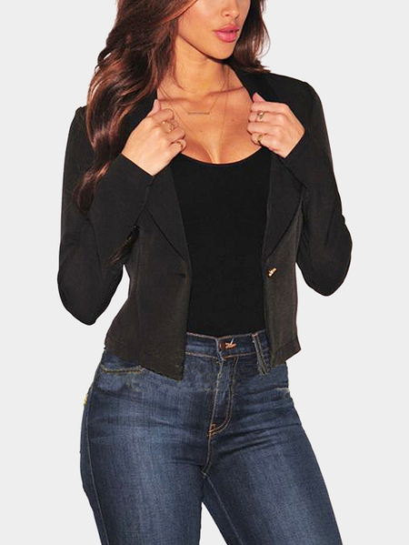Black Sexy Lapel Collar Single Button Lace-up Back Blazer