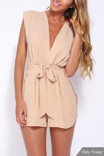 Semi Sheer V-neck Sleeveless Self-tie High Waist Playsuit