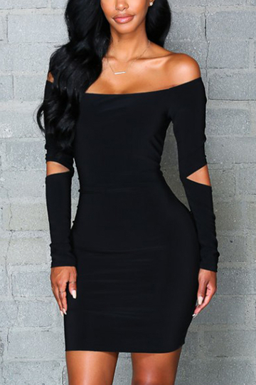Black Off Shoulder manches longues Hollow Design Mini Party Dress