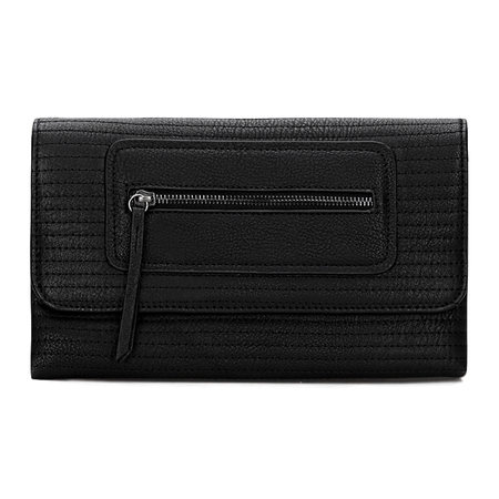 Black Leather-look Pochette avec Allover coutures