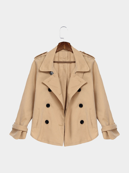 Apricot Double Breasted Lapel Collier Irrégulière Hem Trench Manteau Mince