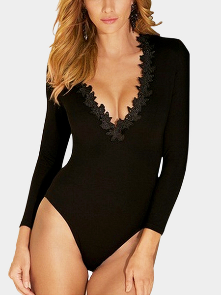 Casual V Neck Lace Details Bodysuits in Black