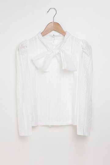 Bow-tie Lace Embellished Blouse