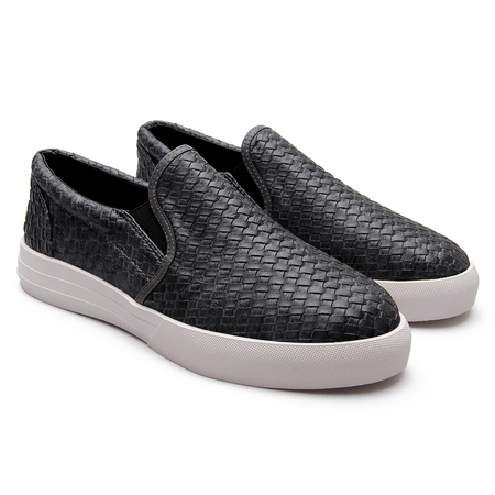 Grey Casual Woven Leather Look Slip-on Mocasines