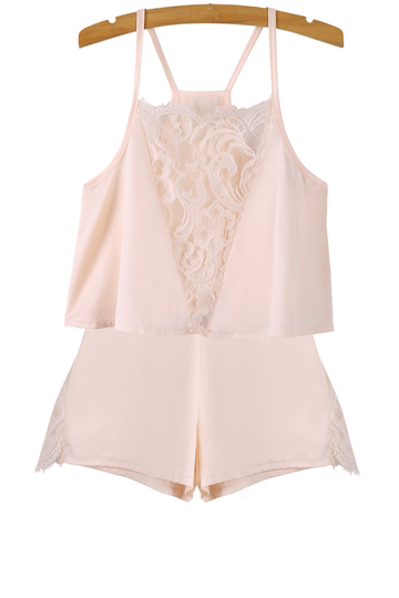 Silk Stitching Lace Shorts Co-Ord Set