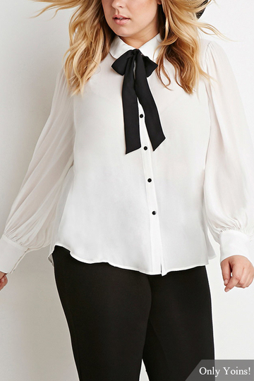 Plus Size Self-tie Bow Blouse