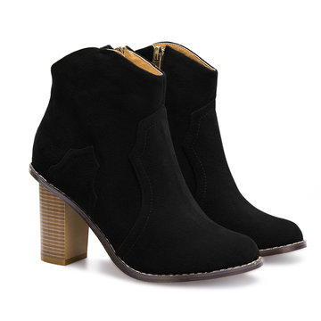 Heeled Suede Ankle Boots in Black