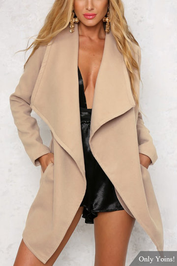 Fashion Open Front Side Pockets Longline Coat