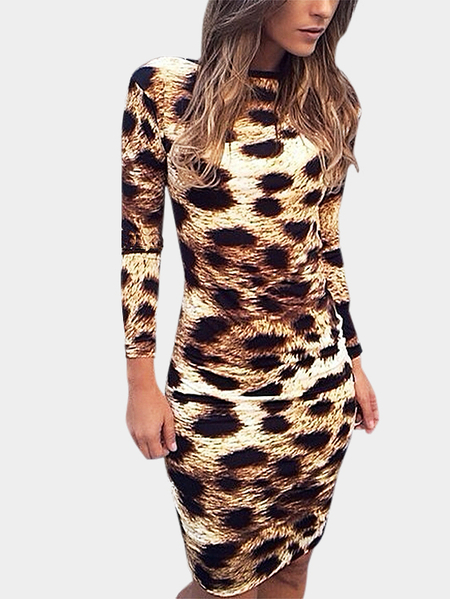 Sexy Leopard Backless Bodycon Dress With Long Sleeves