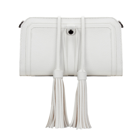 White Textured Leather-look Clutch Bag with Detachable Tassel Embellishment