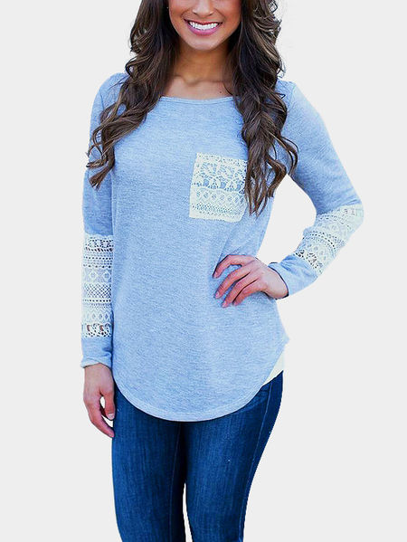 Lace Hollow Out Sleeve Casual T-shirt