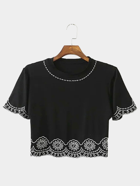 Noir Broderie manches courtes Cropped T-shirt
