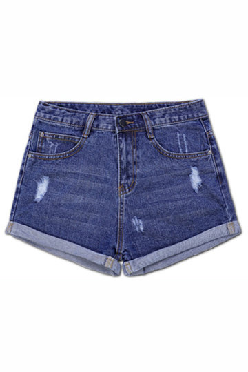 Deep Blue Retro Water Lines Denim Short