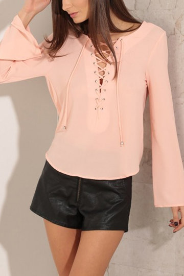 Rosa Sexy Lace-up Sem Costas Top
