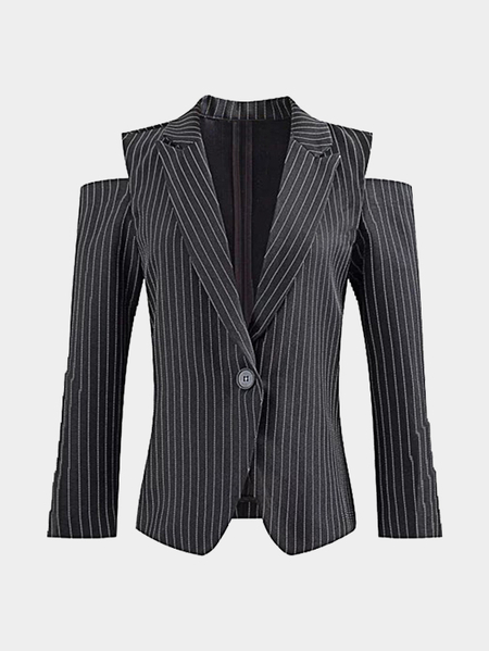 Stripe Pattern Cold Shoulder Long Sleeves Blazer with Button Closure