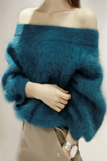 Peacock Blue Off Shoulder Chunky Furry Detalle Puente