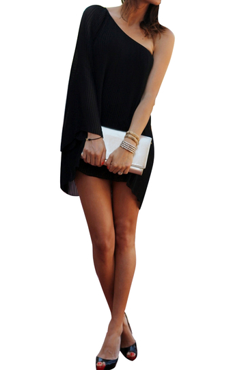 Bell Sleeve Mini Dress with One Shoulder