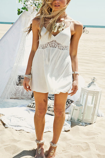 See-through bianco Backless sottile pizzo spalla vacanze Dress