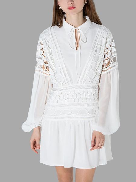 White Long Sleeves Lace Hollow Out Stitching Design Mini Dress