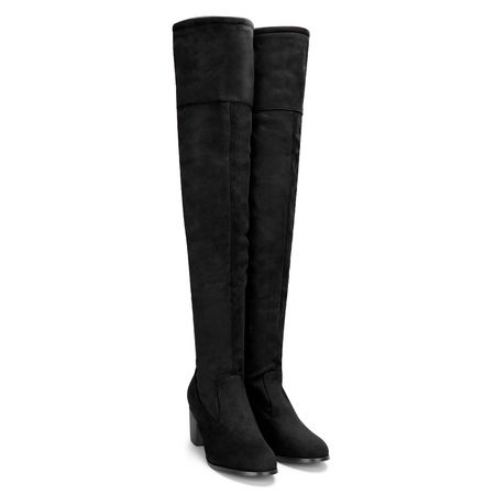 Negro Suede Lace-up Back Knee High Chunky Talones Botas