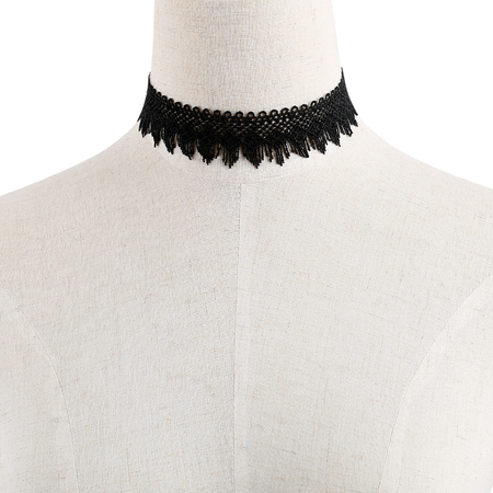 Black Fashion Easy Matching Hollow Out Lace Necklace