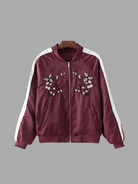 Red Flower Embroidery Pattern Bomber Jacket
