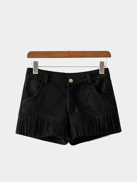 Black Suedette Shorts with Fringed Detail