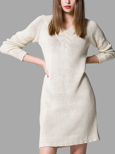 V Neck Sweater Dress in Apricot