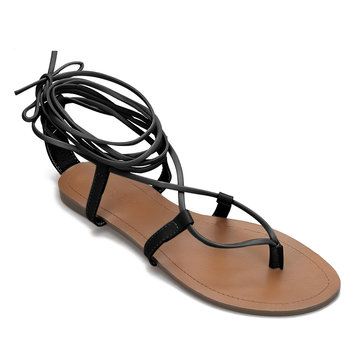 Black Toe Post Strappy Lace-up Flat Sandals