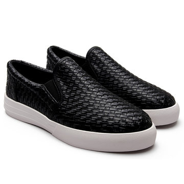 Negro Casual Woven Leather Look Slip-on Mocasines