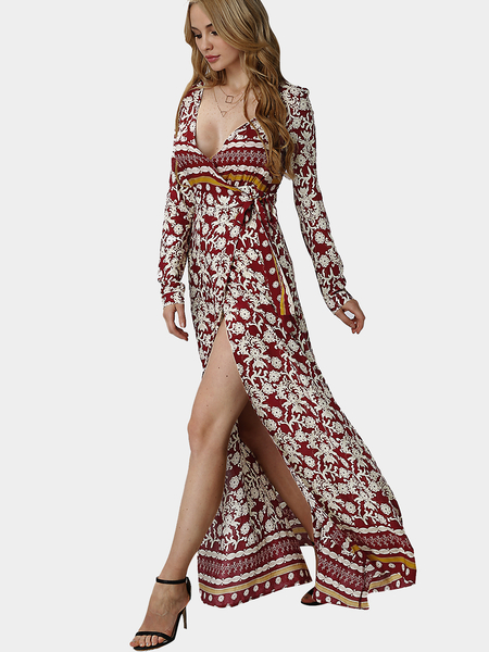 Floral Pattern V-neck Split Hem Maxi Dress