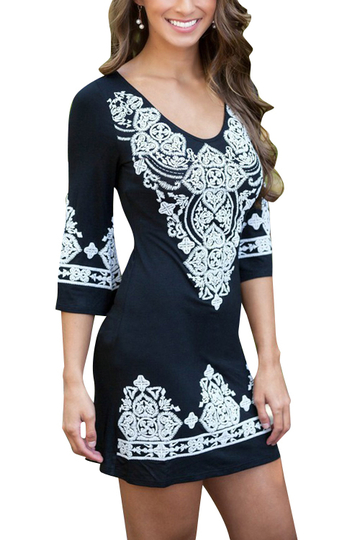 Black Random Floral Print Round Neck Long Sleeves Dress