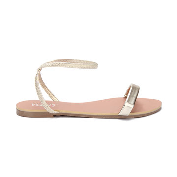 Metallic Two Strap Design Simple Flat Sandals