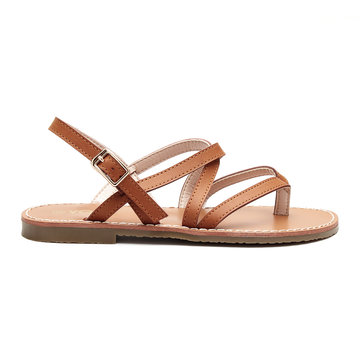 Brown Leather Look Crossing Strap Over Toe Post Flat Sandals