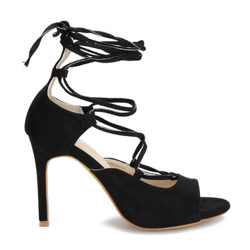 Nero Crossing Strap Lace-up da donna con tacco
