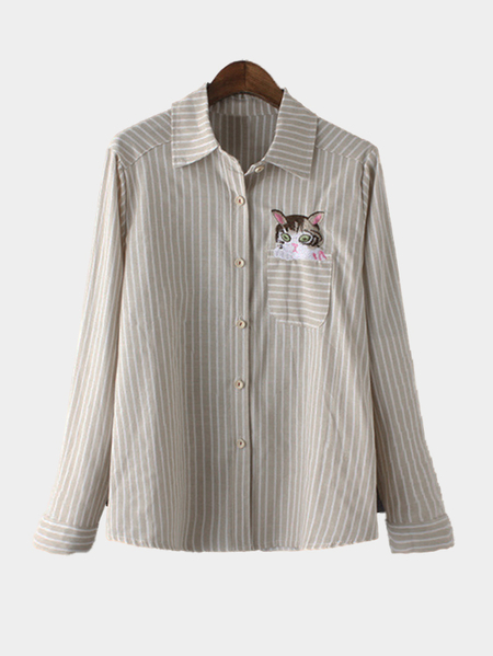 Beige And White Stripe Pattern shirt With Embroidery Pattern
