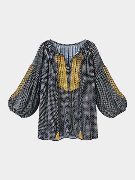 Black Embroidery Lantern Sleeves Shirt with Strap Front